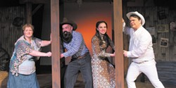 COURTESY OF NORTH COAST REPERTORY THEATRE - Boots on the stage with Cara O'Doniel, Jeremy Webb, Haley Katz and Warren Hardison.