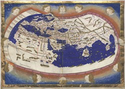 WIKIMEDIA COMMONS - 1467 map by Jacob d'Angelo, based on Ptolemy's Geographia, showing lines of latitude and longitude. Note that the map ends west of the coast of China.