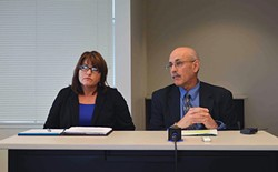 JOURNAL FILE PHOTO - Current Humboldt County Department of Health and Human Services Director Connie Beck with her predecessor, Phil Crandall, at a press conference last year.
