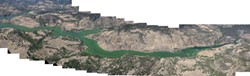 PANORAMA BY THOMAS DUNLIN - This series of aerial panoramas shows the buildup of toxic algal blooms behind Iron Gate dam on the Klamath River.