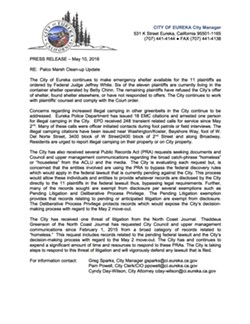 Eureka's May 10 press release