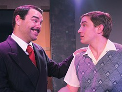 COURTESY OF NORTH COAST REPERTORY THEATRE - Chris Hamby and Dante Gelormino as pusher man and victim.