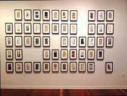"PHOTO BY GABRIELLE GOPINATH - Holve's ""The 1-52,"" framed collages of disassembled books."