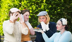 EVAN WISH PHOTOGRAPHY - Jo Kuzelka, Megan Johnson, Natasha White and Rose Andersen in Five Lesbians Eating a Quiche, playing through July 30 at Redwood Curtain Theatre.