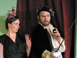 COURTESY OF NORTH COAST REPERTORY THEATRE. - Rapier and wit from Amanda Slinkard and David Hamilton.