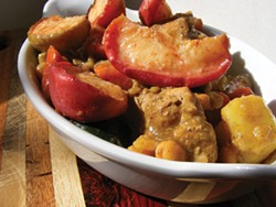 PHOTO BY ANDREA JUAREZ - Sweet, tart apples in a spiced chicken stew.