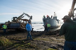 PHOTO BY MARK MCKENNA - The USS LCI 1091  was moved by tug boat from its mooring at the foot of Commercial Street in Eureka to a piece of land near Redwood Terminal 1 behind the Samoa Cookhouse.