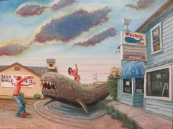 "COURTESY OF THE ARTIST - Jesse Wiedel's ""Whaler's Inn,"" oil on wood panel painting."