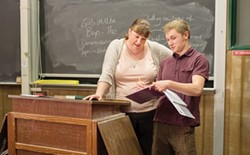 COURTESY OF REDWOOD CURTAIN THEATRE - Christina Jioras and Joey Lawrence in Wendy Wasserstein's academic drama.