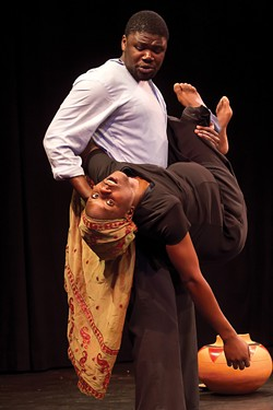 "COURTESY OF DELL'ARTE - Tafadzwa ""Bob"" Mutumbi carrying  Everson Ndlovu in Broken!"