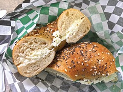 PHOTO BY JENNIFER FUMIKO CAHILL - Everything bagel and schmear to go.