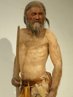 PHOTO BY BARRY EVANS - Reconstruction of Ötzi by paleo-artists Adrie and Alfons Kennis.