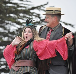 COURTESY OF HUMBOLDT LIGHT OPERA COMPANY - Cyndy Cress as Mad Margaret and Bill Ryder as Despard get crazy in Ruddigore.