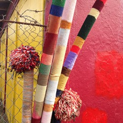 COURTESY OF THE ARTIST - Malia Penhall's untitled knit installation piece in Arcata's Creamery District.