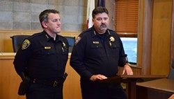THADEUS GREENSON - Humboldt State University Police Chief Donn Peterson (left) and Arcata Police Chief Tom Chapman discuss the Sept. 9 officer-involved shooting at a press conference.