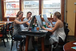 "PHOTO BY CARRIE PEYTON DAHLBERG - A Sunday afternoon ""Sip and Paint"" turns Redwood Curtain Brewing Co. into an improvised art studio."