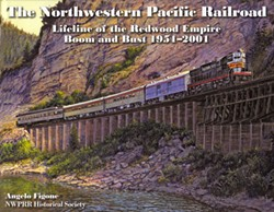 "NWPRR HISTORICAL SOCIETY - The cover of Angelo Figone's new book, ""The Northwestern Pacific Railroad: Lifeline of the Redwood Empire, Boom and Bust 1951-2001,"" shows Train #3 at Scotia Bluffs, spring 1957. Original painting by John Winfield."