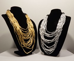 "COURTESY OF THE ARTIST - Brittany Britton's ""A Measure of Something"" adds gold and silver to traditional dentalia necklaces."