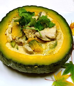 PHOTO BY WENDY CHAN - Fragrant coconut curry in a pumpkin bowl.