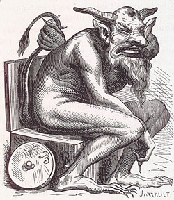 FROM COLLIN DE PLANCY'S 1818. DICTIONNAIRE INFERNAL. - Belphegor plotting his next fiendish move.