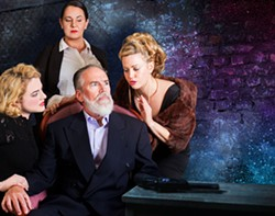 COURTESY OF NORTH COAST REPERTORY THEATRE - Clockwise from left: Jenna Donahue as Goneril, Nicole Halverson as Cordelia, Kim Haile as Regan and Scott Osborn as King Lear.