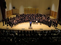 The combined HSU Choirs, performing together in Fulkerson Recital Hall in March 2018
