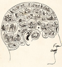 "ILLUSTRATION FROM PEOPLE'S CYCLOPEDIA OF UNIVERSAL KNOWLEDGE - Using charts like these, ""phrenologists"" once correlated bumps on the skull with character defects. Crazy as it now sounds, phrenology at least strove for measurable data, in contrast to today's subjective diagnoses."