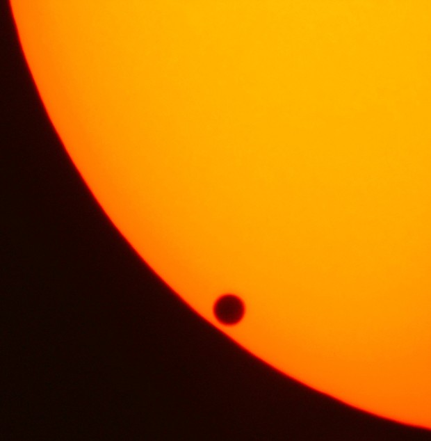 "Venus just after ""second contact,"" beginning its June 8, 2004 transit across the face of the sun. - JAN HEROLD, WIKIMEDIA COMMONS"