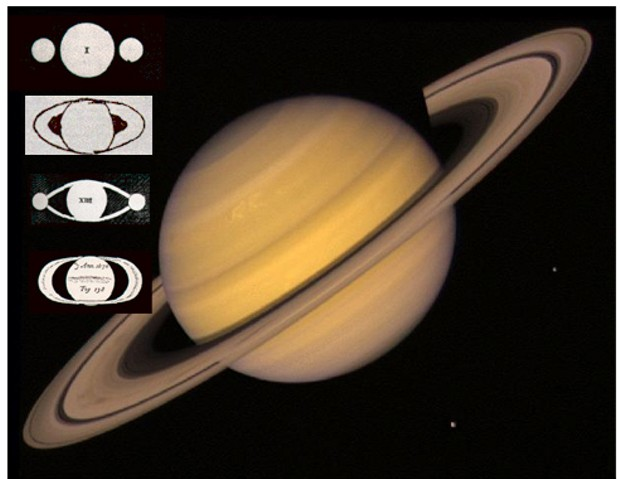 Voyager 2 photo of Saturn, 1981. Insets, top to bottom: Galileo 1610; Galileo 1616; Christaan Huygens 1655; Giovanni Cassini 1676.
