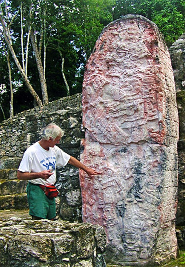 Was that Dec. 21 or 22? Author checking 1,200 year-old Mayan stela at Calakmul, southern Mexico, for exactly when the world will end.