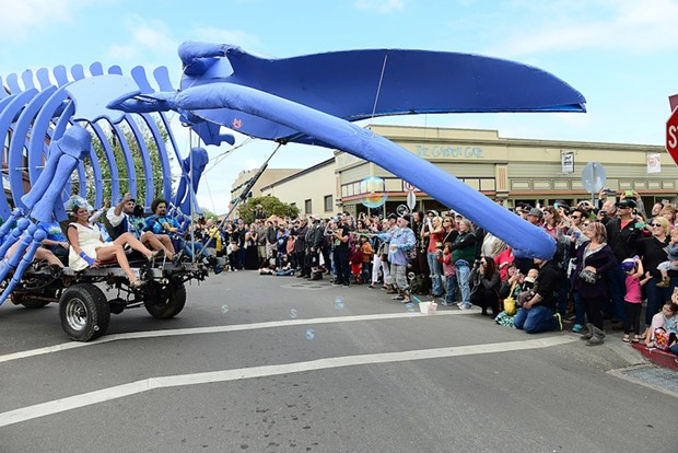 Whale of a Wedding, barely made the corner of the Arcata Plaza. - MARK MCKENNA