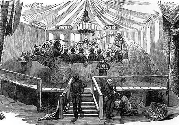 What are you doing New Year's Eve? - AN ENGRAVING OF THE IGUANODON DINNER PARTY THAT APPEARED IN THE LONDON ILLUSTRATED NEWS, 7 JANUARY 1854.