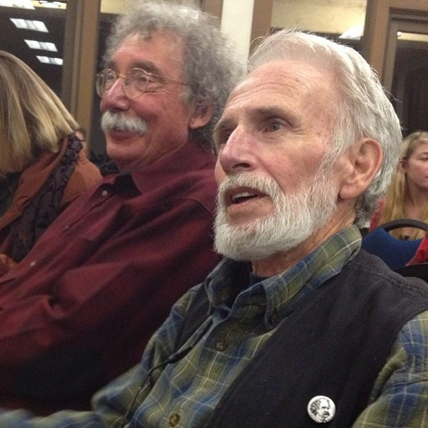 The Humboldt writers Jerry Martien, and Jim Dodge about to read from his work - BOB DORAN