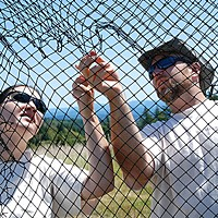 Fixing the World Williams and West secure net on the trap. Photo by Matt Mais,Yurok Tribe