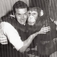 Saga of an Ape — The surprising true story of the late Bill the Chimp Willy Lenz and Bill embrace. Humboldt Standard, 1957