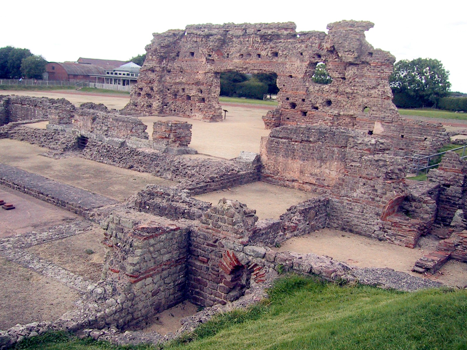 Wroxeter, near present-day Shrewsbury. Although the basilica of the Roman baths fell into disuse around 350 CE, a later phase of large wooden buildings with classical facades was constructed around 480, demonstrating a high level of civilization. - PHOTO BY BARRY EVANS