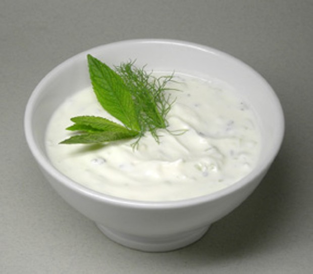 Yoghurt sauce with cucumbers, mint, and spices. Photo from Wikipedia Commons.