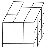 Puzzle Edition You're given a three-inch wooden cube and a saw. Cut the cube into 27 one-inch cubes. You can do it in six cuts, i.e. two cuts in each of three directions, but can you reduce the number of cuts by rearranging and stacking the pieces after each cut?