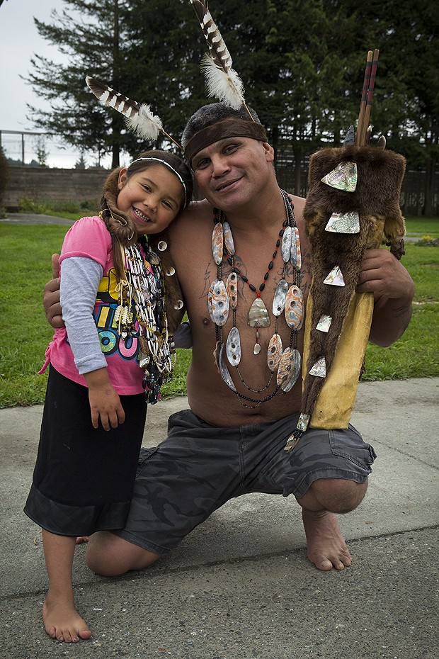 Yurok tribal member Fred Lewis and his daughter Destiny. - MANUEL J. ORBEGOZO