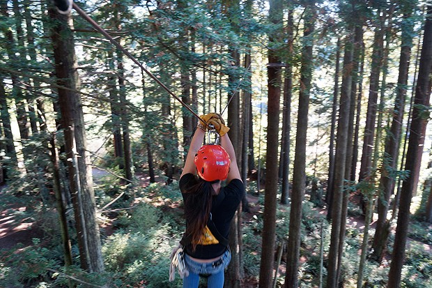 Zip lining can be a great way to celebrate a birthday, as 18-year-old Mei Lan demonstrates.