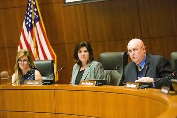 ELECTION QUESTION The SLO County Board of Supervisors voted 3-2, with Lynn Compton, Debbie Arnold, and John Peschong (left to right) in the majority, to establish an open application process for the interim clerk-recorder position. - FILE PHOTO BY JAYSON MELLOM
