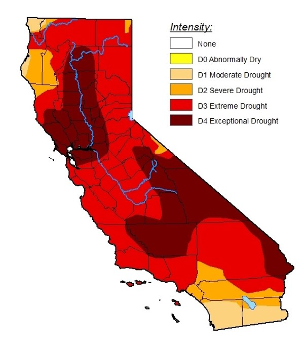 STATE OF DROUGHT San Luis Obispo County is now one of 50 California counties facing a drought emergency, shown here by the U.S. Drought Monitor. - MAP COURTESY OF THE U.S. DROUGHT MONITOR