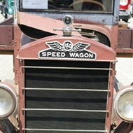 Vintage trucks on display in Old Edna