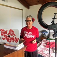 SLO Mayor Heidi Harmon uses a boom box and laptop to stream her music show for preschoolers and their parents amid COVID-19 crisis