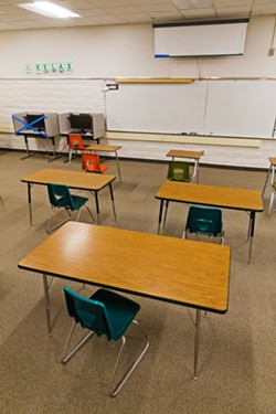 MANDATORY Some school districts—including Paso Unified, Santa Maria Joint Union, and Santa Maria-Bonita—are requiring that instructors teach from their empty classrooms, at least partly. - FILE PHOTO BY JAYSON MELLOM