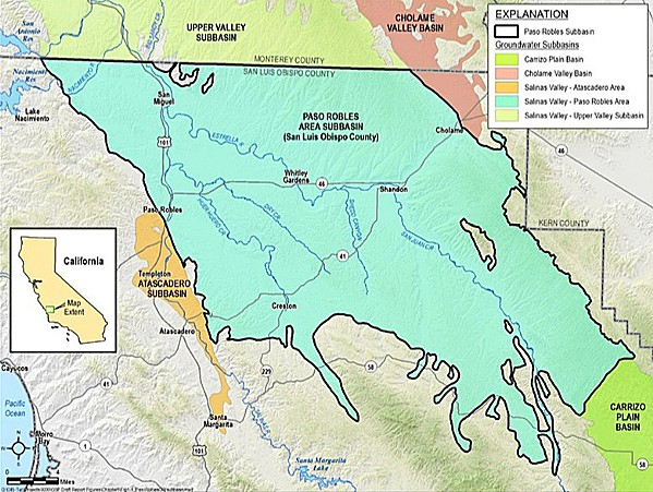 SAME MAP SLO County's boundaries for the Paso basin will not change after outcry from affected landowners. - PHOTO COURTESY OF SLO COUNTY