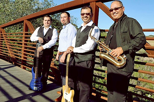 DATE NIGHT Caló—which includes (left to right) bassist Chris Welch, drummer Mike Almaguer, singer and guitarist Victor Valencia, and keyboard and saxophonist Roy Reyes—will livestream Latin rock and R&B music on Aug. 29, thanks to the Clark Center. - PHOTO COURTESY OF CALO