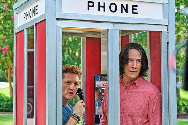 WHOA! PARTY ON! Bill S. Preston Esq. (Alex Winter, left) and Ted Theodore Logan (Keanu Reeves) travel into the future to find their older selves after they've hopefully written a world-uniting song, in Bill & Ted Face the Music, now available on demand. - PHOTO COURTESY OF HAMMERSTONE STUDIOS