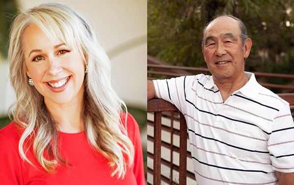 SALES TAX WOES Incumbent Heather Moreno (left) and mayoral candidate Jerry Tanimoto (right) are on the target of a campaign mailer calling on Atascadero residents to not vote for them in lieu of supporting a ballot measure. - PHOTOS COURTESY OF HEATHER MORENO AND JERRY TANIMOTO