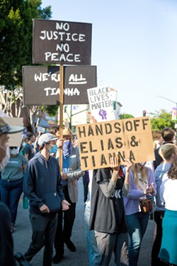 CHARGED SLO Mayor Heidi Harmon accused SLO County District Attorney Dan Dow of disenfranchising three Black protesters who were charged in relation to the July 21 protest (pictured) in SLO. - FILE PHOTO BY JAYSON MELLOM